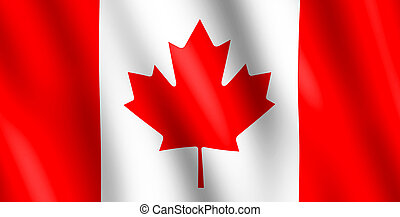 Flag of Canada waving in the wind giving an undulating...