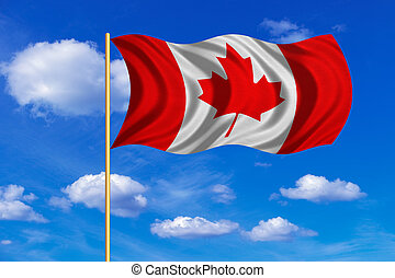 Flag of Canada waving on blue sky background