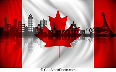 Flag of Canada with Montreal skyline