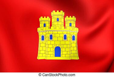 Flag of Castile - 3D Flag of the Castile. Close Up.