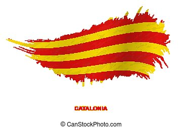 Flag of Catalonia in grunge style with waving effect.