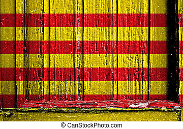 flag of Catalonia painted on wooden frame