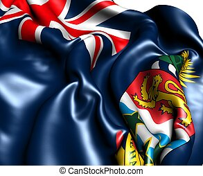 Flag of Cayman Islands against white background. Close up.