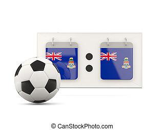 Flag of cayman islands, football with scoreboard