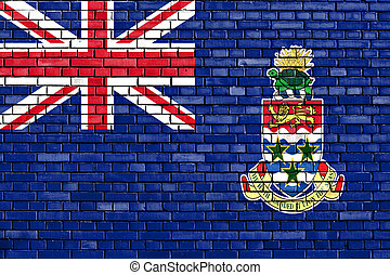 flag of Cayman Islands painted on brick wall