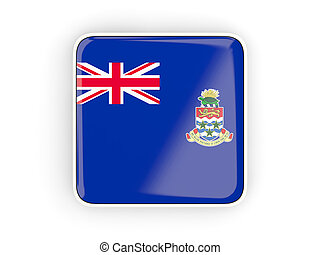Flag of cayman islands, square icon with white border. 3D illustration