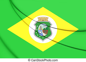 Flag of Ceara, Brazil. 3D Illustration.