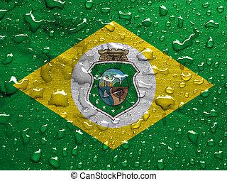 flag of Ceara with rain drops