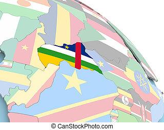 Flag of Central Africa on globe