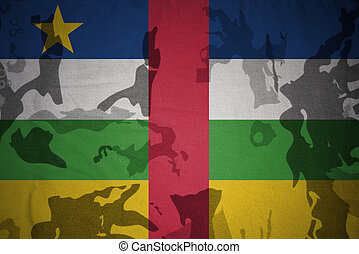 flag of central african republic on the khaki texture . military concept