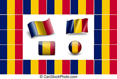 flag of Chad. icon set