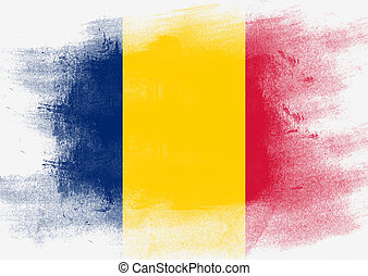 Flag of Chad painted with brush