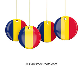 Flag of chad, round labels