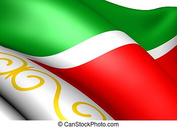 Flag of Chechen Republic, close up.