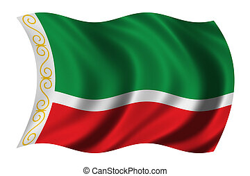 Flag of Chechnya waving in the wind
