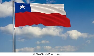Flag of Chile against background of clouds sky