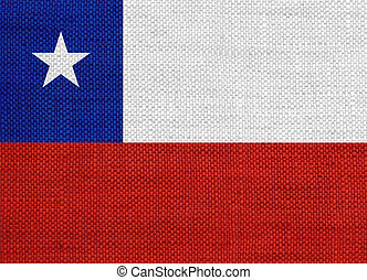 Flag of Chile on old linen