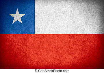 flag of Chile or Chilean banner on paper rough pattern...