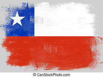 Flag of Chile painted with brush