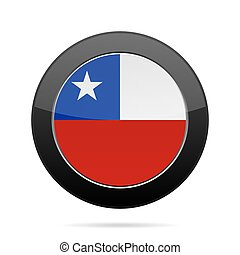 Flag of Chile. Shiny black round button.