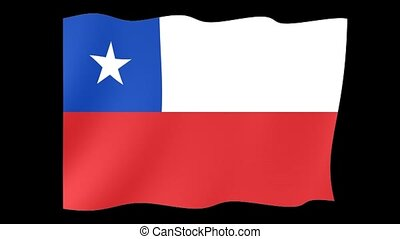 Flag of Chile. Waving flag