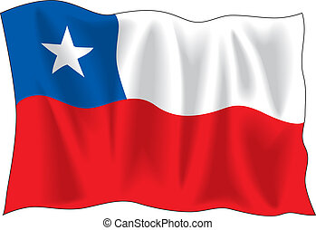Flag of Chile - Waving flag of Chile isolated on white