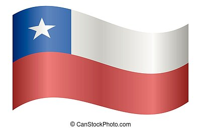 Flag of Chile waving on white background