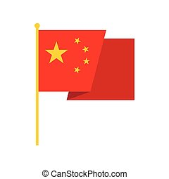 Flag of China icon, flat style