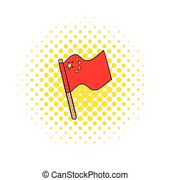 Flag of China icon in comics style