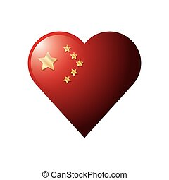 flag of china in shape heart