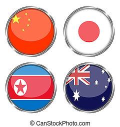 Flag of china, japan, north korea, australia
