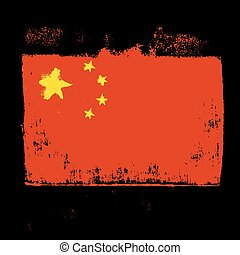 Flag of China on a black background.