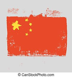 Flag of China on a gray background.