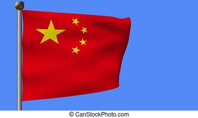 flag of china on blue sky