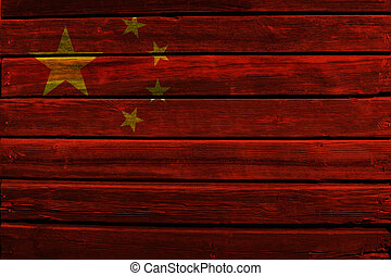 Flag of China on wood