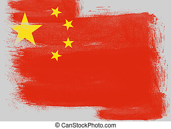 Flag of China painted with brush