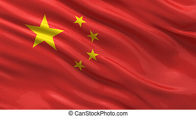 Flag of China waving in the wind with highly detailed fabric...