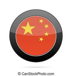 Flag of China. Shiny black round button.