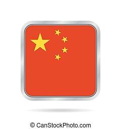 Flag of China. Shiny metallic gray square button.