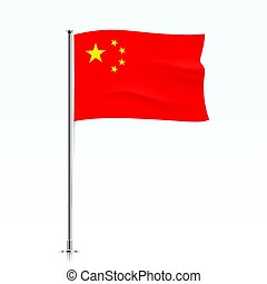 Flag of China waving on a metallic pole.