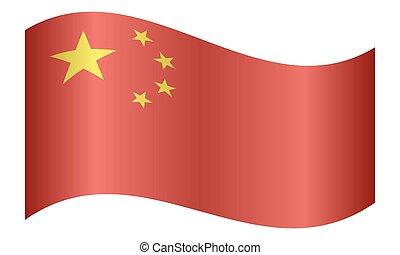 Flag of China waving on white background