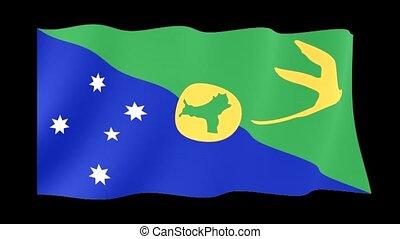 Flag of Christmas Islands. Waving flag
