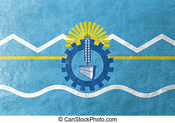 Flag of Chubut Province, Argentina, painted on leather texture