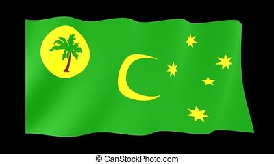 Flag of Cocos Islands. Waving flag