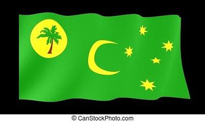 Flag of Cocos Islands. Waving flag