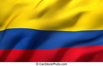 Flag of Colombia blowing in the wind