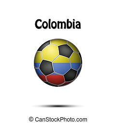 Flag of Colombia in the form of a soccer ball