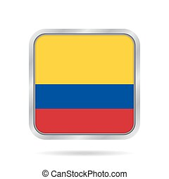 Flag of Colombia. Metallic gray square button.