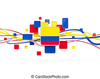 Flag of colombia, mosaic background with lines