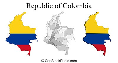 Flag of Colombia on map and map with regional division